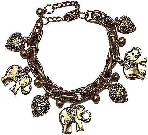 NONGYEYH co.,ltd Collar Vintage Bohemio Color Dorado Elefante corazón Pulseras con dijes para Mujer Cadena Regalo Pulseira Feminina joyería