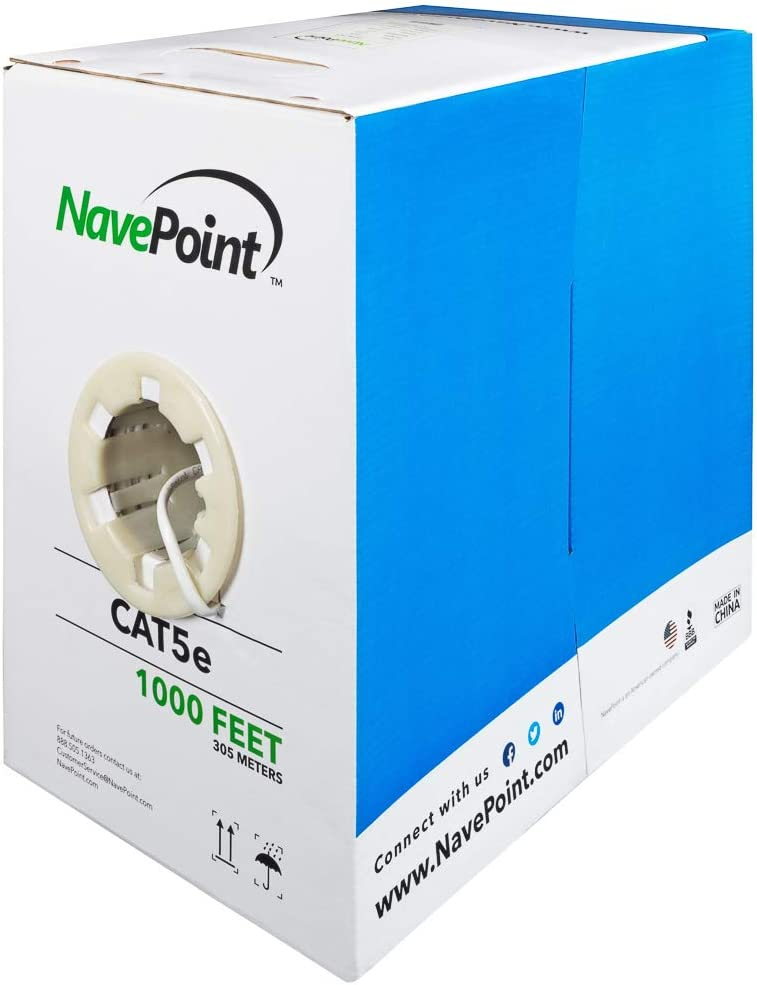 NavePoint Popular shop is the lowest price challenge OFFicial shop CAT5e CCA 1000ft White Bulk Solid Ethernet Cable