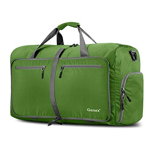Gonex 60L Borsa da Viaggio Borsoni Pieghevole Impermeabile per Viaggio Sport Palestra Campeggio Bagaglio a Mano Tracolla con Grande Capacità di 60 Litri (Verde)