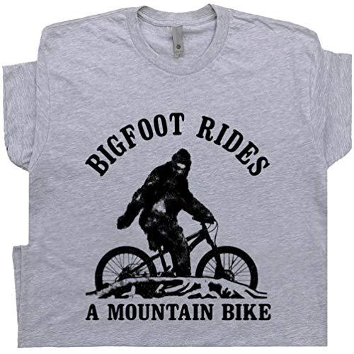L - Bigfoot Mountain Bike T Shirt with Funny Saying Cool Biking Humor Gift for Biker Tee Bicycle Appalachian Trail Gray
