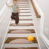 Qingbei Rina Bullnose - Juego de 15 almohadillas para escaleras, tamaño grande, 25 cm x 65 cm, color beige, antideslizantes para interiores y escaleras, modernas alfombrillas para escaleras