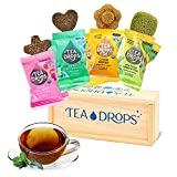 tea drops set in wooden box with blue lettering and icons