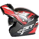 MOMOJA Casco Abatible para Motocicleta con Auriculares Bluetooth Casco Integral Modular con Doble Visera para Respuesta Automática, Casco De Protección con Certificación ECE A,XL(61-62cm)