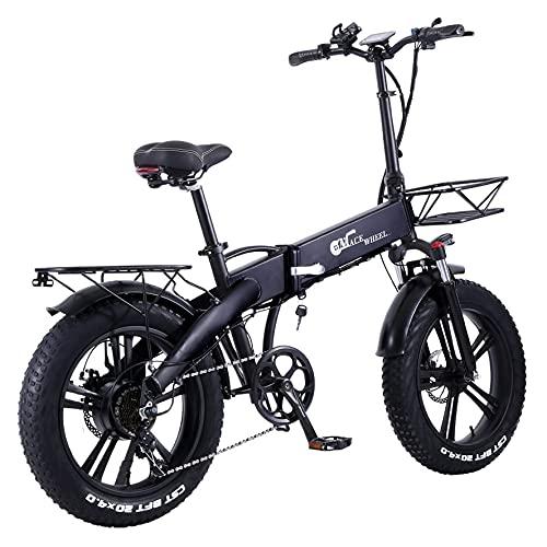 E-Bike Klapprad 20 Zoll, Fat Tire Elektrofahrrad für Erwachsene, 750W Motor | 48V/10Ah Akku bis 60KM, Shimano 7 Gears und Federgabel, Elektrisches Cross-Country-Bike für Berg, Strand, Schneefeld