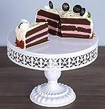 URANMOLE Antique Metal White Cake Stands, Round Cupcake Stands, Wedding Birthday Party Celebration Dessert Cupcake Pedestal/Display/Plate (12in