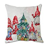 """Thatso Christmas Pillow Covers Decorations, 18x18"""" Soft Linen Square Pillow Case, Holiday Gnomes Graphic Cushions Throw Pillow Cover for Couch, Sofa, Home, Office Decor(D - 1Pcs)"""