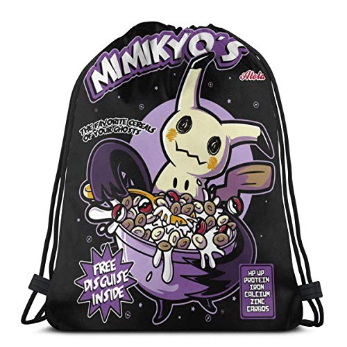 WH-CLA Bolsas con Cordón P-Oke Mimikyu Mimikyo 'S Food Drawstring Bags Print Storage Durable Party Ligero Anime Goodie Bags Cinch Bags Wrapping Gift Bag Gym Favor Bags Sport Mochilas con