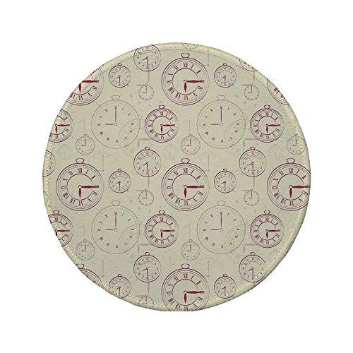 Rutschfreies Gummi-rundes Mauspad Uhr Vintage-Uhren mit römischen Ziffern Antikes Maschinenzeitmuster Illustration Dekorativ Hellgelbes Magenta 7.9'x7.9'x3MM
