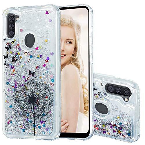 Miagon Flüssig Hülle für Samsung Galaxy A11,Glitzer Weich Treibsand Handyhülle Glitter Quicksand Silikon TPU Bumper Schutzhülle Case Cover-Löwenzahn Schmetterling