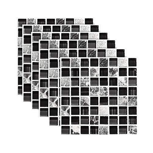 Byrhgood 6 PCS Auto Adhesivo Mosaico Pegatina de azulejo Cocina Backsplash Pegatinas de baldosas de baño Decoración de la decoración Impermeable PVC Simulación Azulejos # LR1 (Color : Multicolor)
