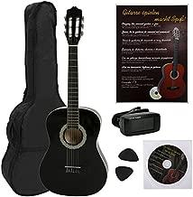 NAVARRA NV12PK - Guitarra clásica STARTER PACK 4/4 negro con bordes crema incl. funda con correas tipo mochila y bolsillo para partituras/accesorios, Libro con muchos hit-canciones y CD, Cliptuner pantalla LCD de aguja con iluminación de fondo, 2 Púa