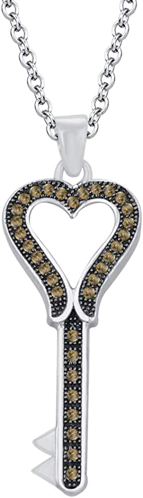 HN Jewels 1.35 Ct Simulated Diamond Heart Key Pendant 18 Chain Necklace In 14K White Gold Plated 925