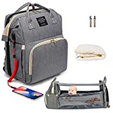 Diaper Bag Backpack with Changing Station, Baby Bag for Boys Girls with Bassinet, Premium Diaper Bag for Baby, Mommy Bag Include Insulated Pocket, Large Capacity, Waterproof(Gray)