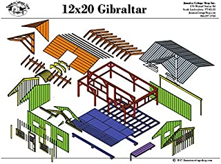 Step-By-Step DIY PLANS - Timber Frame Post and Beam Cabin Plans - 12x20 Gibraltar with 4x20 Porch and Barrel Arch - Step-By-Step DIY Plans