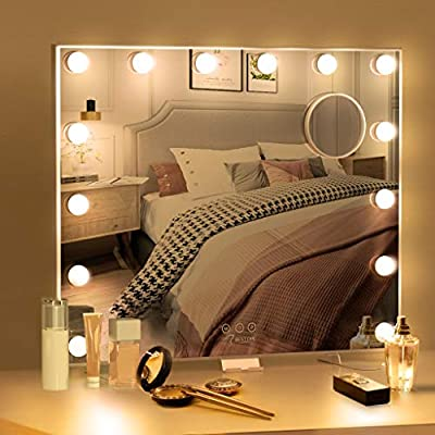 BESTOPE Hollywood Vanity Mirror with Lights Large Led Makeup Mirror with 3 Color Lighting Modes for Tabletop or Wall Mounted, 14pcs Dimmable Bulbs,USB Outlet and Smart Touch Control
