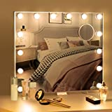 BESTOPE Large Vanity Mirror with Lights Hollywood Lighted Makeup Mirror with 3 Color Lighting Modes for Tabletop Mirror or Wall Mounted, 14pcs Dimmable Led Bulbs,USB Outlet and Smart Touch Control