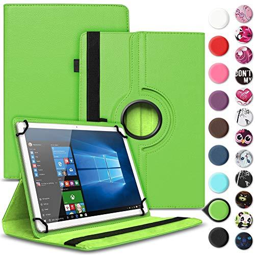 UC-Express Tablet Tasche kompatibel für Wortmann Terra PAD 1004 Universal Schutzhülle aus Kunstleder Hülle Tasche Standfunktion 360° Drehbar Cover Hülle, Farbe:Grün