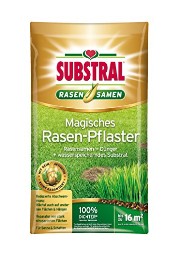 Substral Magisches Rasen-Pflaster, Rasenreparatur, Mischung aus Rasensamen, Premium Keimsubstrat und Dünger, 3,6 kg für bis zu 16 m²