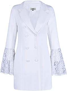 Lace Bell Flare Sleeve Blazer Women Hollow Out V Neck Double Breadsted Suit Collar Plus Size Coat Female 1 S