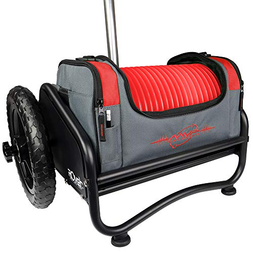 MVP Disc Sports Rover Cart + Red Nucleus Disc Golf Bag