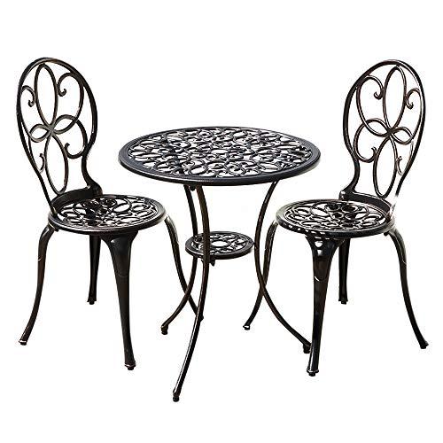 Juego de bistro para exteriores de 3 piezas: mesa redonda de aluminio...