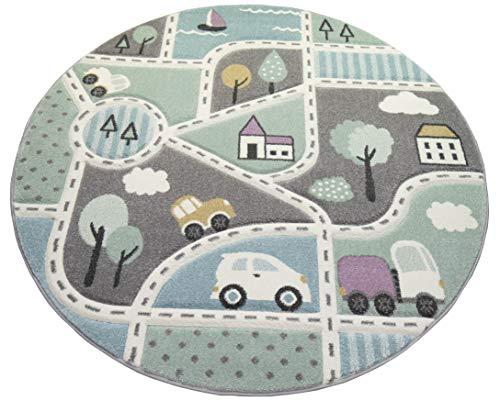 Kinderteppich Straßenteppich Lernteppich Junge mit Straßen und Autos blau grün Größe 160 cm Rund