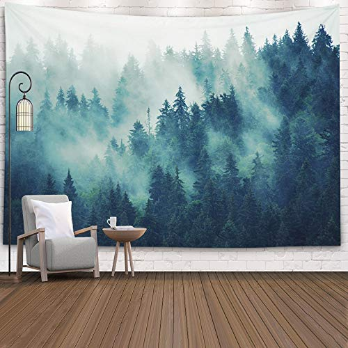 EMMTEEY Grey Tapestry Wall Hanging,Tapestries Dcor Living Room Bedroom for Home Inhouse by Printed 80X60 Inches for Landscape with Fir Forest in Hipster Vintage Retro Style