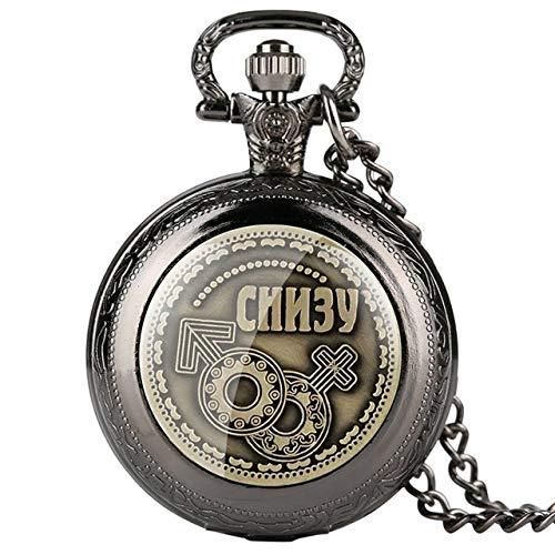 ZHAOXIANGXIANG Taschenuhr,Russische Münzen Home Decor Coin Bitcoins Replik Antike Imitation Home Party Dekoration Quarz Taschenuhr Geschenke, Classic Black