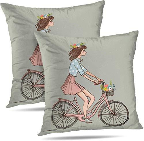 TABUE 18X18inch kussenslopen schattig cartoon meisje fiets fiets meisje schattig dier kunst dubbelzijdig patroon kussensloop bank kussensloop