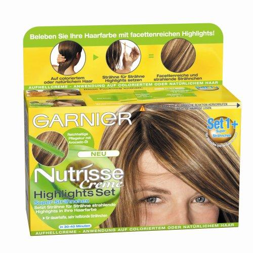 Garnier Nutrisse Creme Highlights Set 1 für Blonde Strähnchen / Strähnen Set zum selber machen für hellblondes Haar (mit Avocado-Öl) 3 x 1 Stück