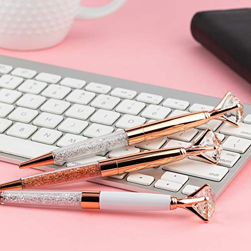 Pen Gift Set for Women - 3 Rose Gold Big Diamond Pens with Crystals in a Pink Gift Box – Rose Gold, White, Rose Gold, Fancy, Bling Top Ballpoint Writing Pens, Black Ink/Medium Point Photo #8