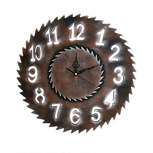 Cwanmh Wanduhr Kreative Vintage Holzuhr Antike Hängende Wanduhr Sägeblatt Stumm Quarz Dekoratives Holz Große Uhren Home Wanddekoration