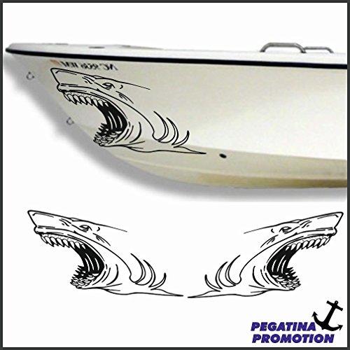 2 x weisser Hai weißer Haifisch Aufkleber aus Hochleistungsfolie - viele Farben zur Auswahl - Angler Angelboot Sticker Boot Boote Beschriftung Bug Heck Fische Angeln Schlauchboot Nautic See Fischer Bootsbeschriftung Bootbeschriftung Fischen Sticker