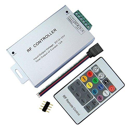 TronicsPros 20 Key DC 12V-24V 12A Multi-functional RF Remote Wireless RGB LED Strip Controller Aluminum Case for SMD 5050 3528 2835 LED Strip Light LED Tape Light Under Car Glow Light Kit