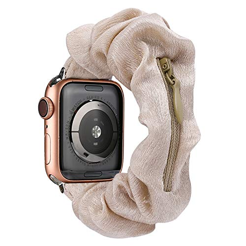 TOYOUTHS Compatible with Scrunchie Apple Watch Band Iwatch Bands 40/38mm Women Series 1/2/3/4/5/6 Cute Cloth Soft Pattern Printed Fabric Wristband Elastic Stretch Scrunchy Retro Band with Zipper