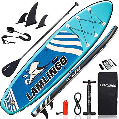 Rolimate SUP Board Paddle Board Dickes Stand Up Paddle SUP Board Set für Sport Rudern/Rucksack/Spule Leine/Leash/Mobiles Wasserdichtes Gehäuse (Blau)