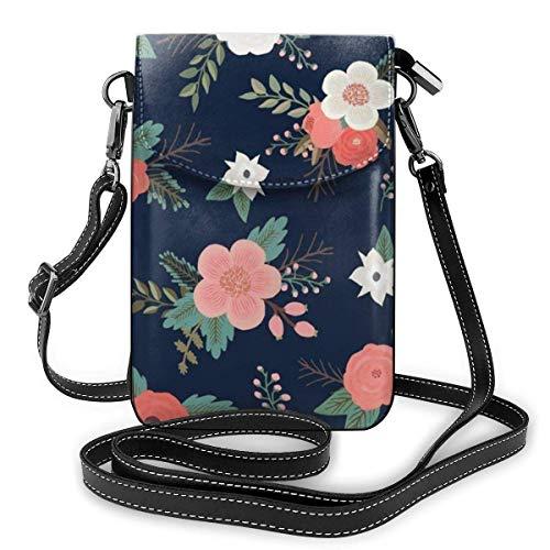 IUBBKI Petit sac à main en bandoulière pour téléphone portable avec emplacements pour cartes de crédit, léger et spacieux, bandoulière réglable, bouquets de bonbons floraux en bleu marine