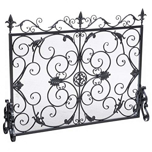 Christopher Knight Home Wilmington Fireplace Screen, Silver Flower On Black