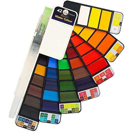 Watercolor - Juego de pinturas de acuarela, 42 colores, profesional, portátil, plegable, con pincel de agua, para artistas, niños y adultos al aire libre