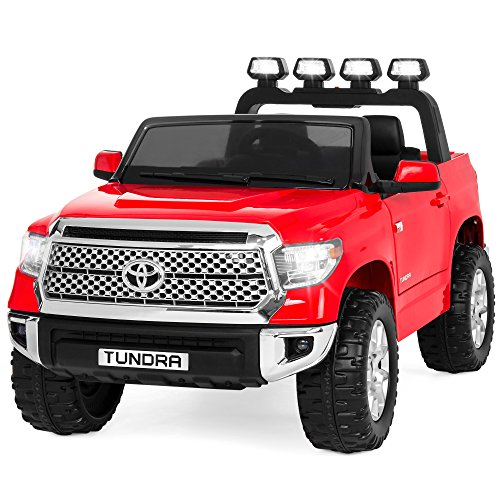 Best Choice Products Kids 12V Electric RC Toyota Tundra Ride On Truck,LED Lights/Sound, Trunk, Red