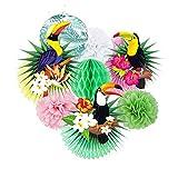 JoyTplay 3Rose Flamingo Party Décoration Papier Peint Pom Poms Fleurs pour Fille Anniversaire Mariage Mariage Bridal Shower Décoration
