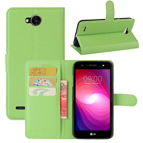 HualuBro LG X Power 2 HandyHülle, Leder Brieftasche Etui Lederhülle Tasche Schutzhülle Hülle [Standfunktion] Handytasche Flip Hülle Cover für LG XPower 2, LG X Power II (Grün)