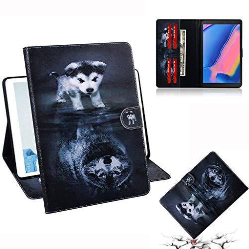 Careynoce Galaxy Tab Een 8.0 Hoes, Geschilderd Patroon PU Lederen Magnetische Boek Flip Portemonnee Tablet Case voor Samsung Galaxy Tab Een SM-P200/P205 8.0 inch 2019 met Auto Slaap/Wake Functie, Wolf, CH-01