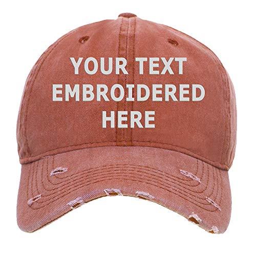Gorra de béisbol Opromo personalizada con texto bordado, vintage, algodón lavado desgastado Naranja naranja Talla única