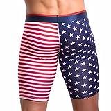 BaZhaHei Bragas de Hombre Calzoncillos de Ropa Interior Boxers Rayas Calzoncillos de Boxeador para Hombre Pantalones Cortos Hombres Bandera Americana de los Hombres Pantalones Deportivos Rojos M