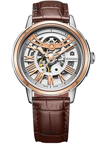 Mens Automatic Stainless Steel and Leather Dress Watch, Analog Display, Skeleton Dial Wrist Watches 7705M X1-WR-A3