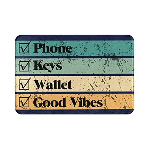 """Welcome Doormat Phone Keys Wallet Good Vibes 16""""X24"""" Low Profile Rug,Unique Styles Door Mat Easy to Clean Entry Mat for Front Door Outside Patio Garage Ideal Indoor Door Mat for Entry Way…"""