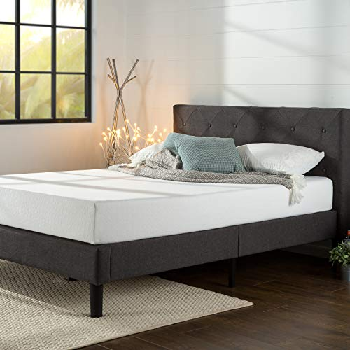 Zinus Shalini Upholstered Diamond Stitched Platform Bed / Mattress Foundation / Easy Assembly / Strong Wood Slat Support / Dark Grey, Twin