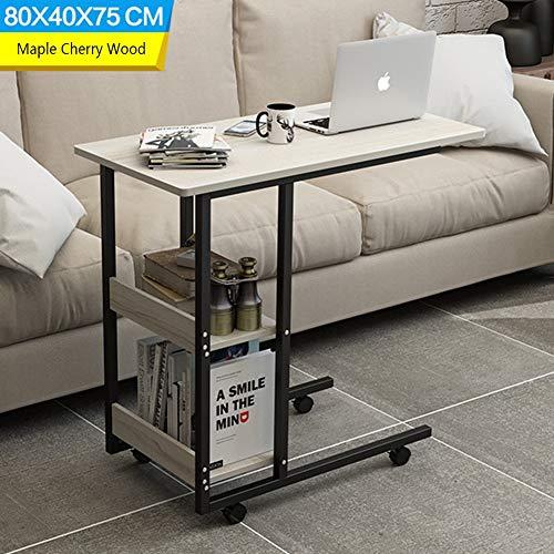CLEAVE WAVES C gevormde bank/nachtkastje zijtafel, mobiele eindtafel voor koffie laptop tablet frame, 80 x 40 x 75 cm esdoorn kersenhout