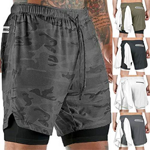 Pantalones cortos deportivos para hombre Gym Running 2 en 1, pantalones cortos de secado rápido, entrenamiento transpirable, pantalones cortos para correr con bolsillo para teléfono (Camo gris, XL)